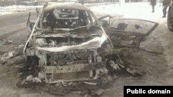 """Сожженный бронированный автомобиль Александра Беднова по прозвищу """"Бэтмен"""""""