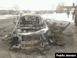 "Машина командира сепаратистов Александра Беднова (""Бэтмена"") после покушения, 1 января 2015 года"