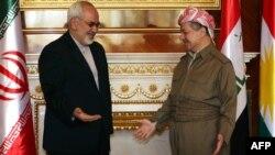 رئيس إقليم كردستان العراق مسعود بارزاني يستقبل وزير الخارجية الإيراني محمد جواد ظريف