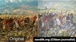 Оригинал и подделка картины «Кукуруза шумит».