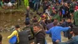 Migrants Risk River Crossing To Enter Macedonia From Greece