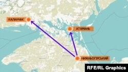 Відстань між смт Нижньогірський у Криму, де помітили військову російську техніку, до адмінмежі з Херсонською областю