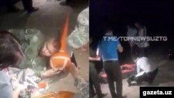 Қулаган самолёт учувчиси экани айтилаётган шахсга тиббий ёрдам кўрсатиш пайти.Topnewsuz / Telegram