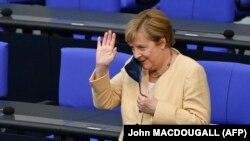 Nemačka kancelarka Angela Merkel tokom obraćanja u Bundestagu, 7. septembar 2021.