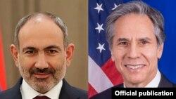 Премьер-министр Армении Никол Пашинян (слева) и госсекретарь США Энтони Блинкен