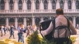 Музыкант играет на аккордеоне на площади Сан Марко в Венеции