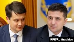Dmitro Razumkov (stânga) și Volodimir Zelenski (dreapta)