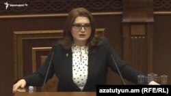 Armenia - Judge Lilit Tadevosian addresses parliament before being elected as new head of Armenia's Court of Cassation, February 9, 2021.
