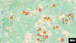 Центар за управување кризи (ЦУК) - Мапа на активни и локализирани пожари до 17 часот во Македонија, 6 август. 2021