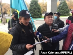Hours before the premiere of the new Borat film, a small group of Kazakh protesters gathered in front of the U.S. Consulate in Almaty to express anger.