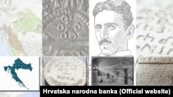 Geografska karta Hrvatske, kuna, Nikola Tesla i glagoljica – neki su od predloženih motiva za hrvatsku stranu eurokovanica, Zagreb (21. srpnja 2021.)