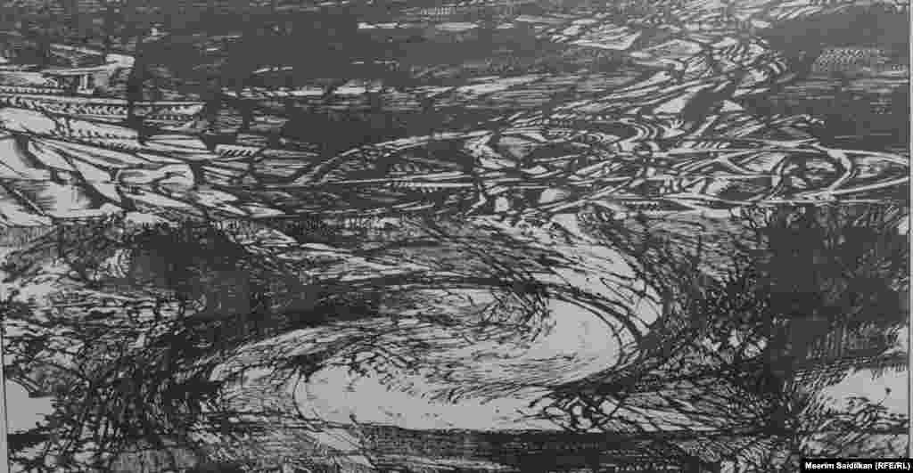 """В.А.Мельниковдун """"Барак 1, Аркаим """", аттуу эмгеги, """"Үйгө карай жол"""" сериясынан, пластикадагы гравюра, бийик басма, 2007"""
