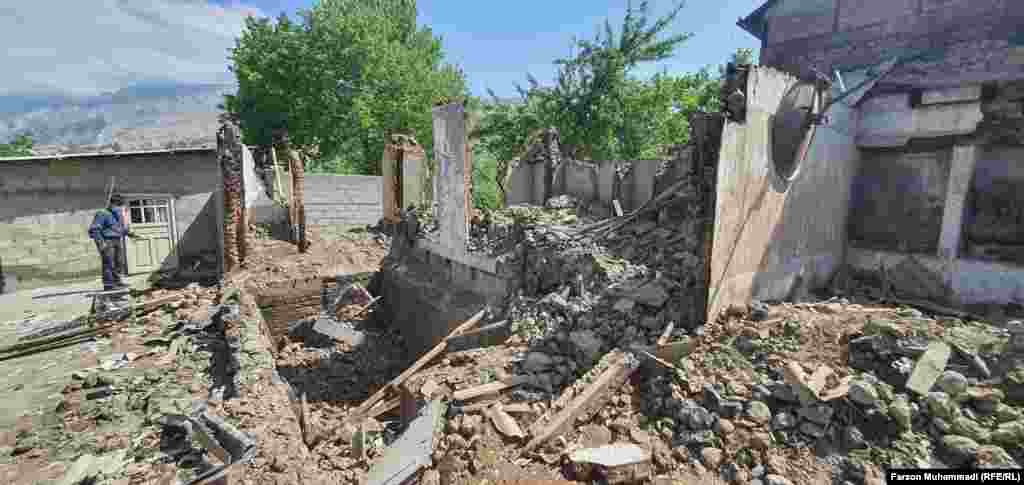 Destruction in the village of Khojai A'lo, Tajikistan, on May 2