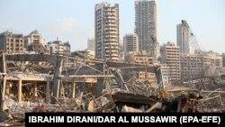 Фотографија од пристаништето во Бејрут каде се случи експлозијата