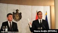 Српскиот претседател Александар Вучиќ со специјалниот пратеник на ЕУ, Мирослав Лајчак, Белград, 15.10.2020.