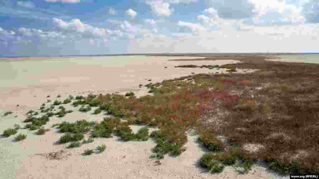 Покрытый растительностью остров Латау почти в центре озера