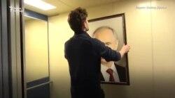 """Кошмар какой-то"". Портрет Путина в лифте"