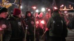 Ukrainian Nationalist Group Holds Torchlight Rally In Kharkiv