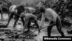 Дальстрой жұмысшыларының Колымада көпір салуы.