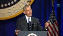 Барак Обама обращается к своей жене и семье