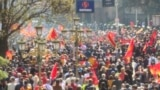 North MAcedonia - Skoplje - Protest for liberation of people involved in riots in Macedonian parliament four years ago - April 25th 2021