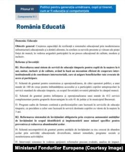 România Educată are capitol special dedicat in PNRR.