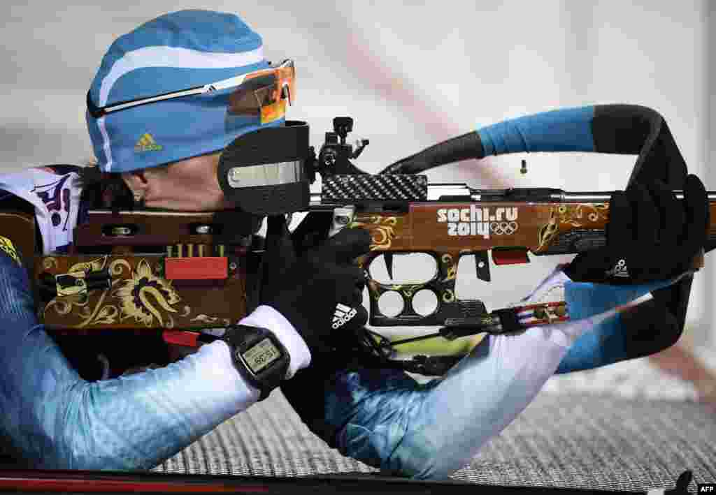 Ukraine's Vita Semerenko competes in the women's biathlon 7.5-kilometer sprint at the Laura Cross-Country Ski and Biathlon Center. Semerenko won bronze.