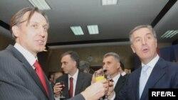 Lider SDP-a Ranko Krivokapić i DPS-a Milo Đukanović, Foto: Savo Prelević
