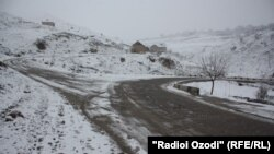 Tajikistan -- Dushanbe, a village, road, snow, three way, ( Chamanzor, Yovon ), 24 February 2014