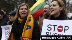 Дэманстрацыя пратэсту супраць расейскай агрэсіі ва Ўкраіне, Вільня, 2 сакавіка 2014 году