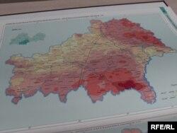 Мапа забруджанасьці радыенуклідамі Гомельскай вобласьці