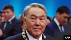 Kazakh President Nursultan Nazarbaev at his swearing-in ceremony in Astana.