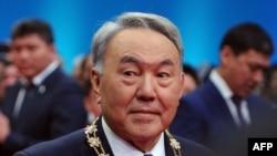 Kazakh President Nursultan Nazarbaev at his swearing-in ceremony in Astana.