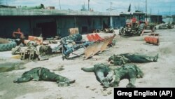 Bodies of Iranian Basij volunteer soldiers are seen near the town of Halabja, Iraq, in March 1988, after a chemical attack on the Kurdish town..