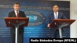 Министерот за надворешни и европски работи на Република Словачка Мирослав Лајчак во Скопје на прес конференција со министерот за надворешни работи Никола Димитров