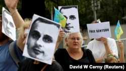 Demonstrators attend a protest rally demanding the release of Ukrainian film director Oleh Sentsov in front of the Russian Embassy in Prague in August.