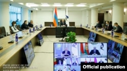 Armenia -- Armenian Prime Minister Nikol Pashinian attends a virtual summit of the Eurasian Economic Union from Yerevan, December 11, 2020.