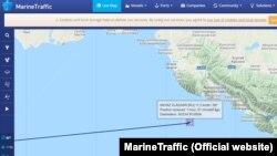 Траєкторія судна «Князь Володимир», що протягом 7 годин не могло потрапити до порту Ялти 9 серпня