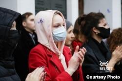 Студэнты МДЛУ масава выйшлі на акцыю салідарнасьці 30 кастрычніка. Фота ТК/Belsat.eu