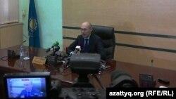 Казакстан Улуттук банк төрагасы Кайрат Келимбетов 2014-жылдын февраль айындагы пресс-жыйында