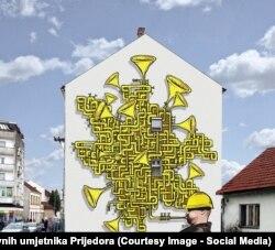 """""""Trumpet Labyrinth"""", jedan od prijedloga pristiglih na konkurs za najbolji mural u Prijedoru"""