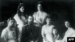 Tsar Nicholas II (center left) with his family in 1914.