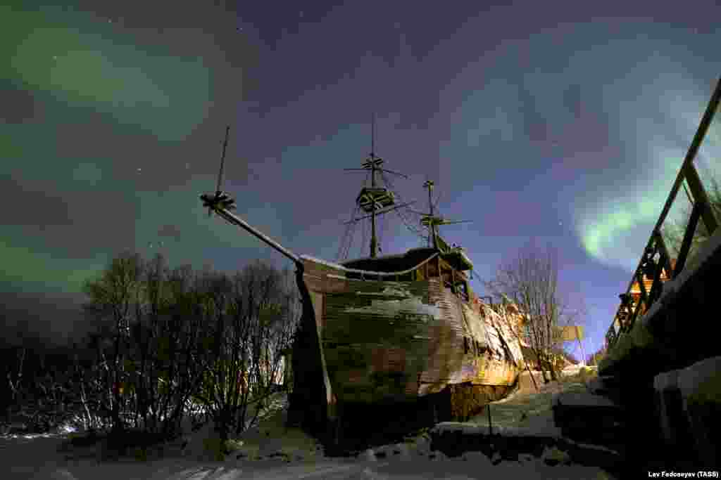 The Northern Lights are seen in the sky of Russia's Murmansk region. (TASS/Lev Fedoseyev)