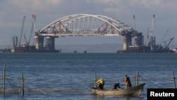 Строительство Керченского моста, октябрь 2017 года