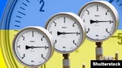 Ukraine -- High pressure reading on gas wellhead isolated on flag Ukraine