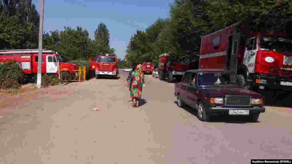 Машины противопожарной службы в селе Сейфуллино сельского округа Жолдасбая Ералиева.