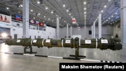 Компонент крылатой ракеты 9M729 на выставке в Экспоцентре Патриот