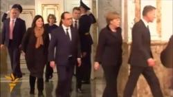 Leaders Take A Break After All-Night Talks In Minsk