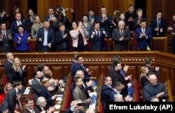 Голосование в украинском парламенте, закрепившее курс на ЕС и НАТО в конституции. Киев, 7 февраля 2019 года