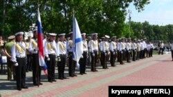 Військові Чорноморського флоту РФ на мітингу в Севастополі